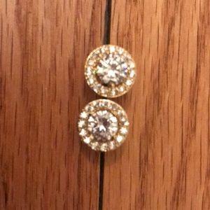 Jewelry - Cubic zirconium earrings with halo. New!